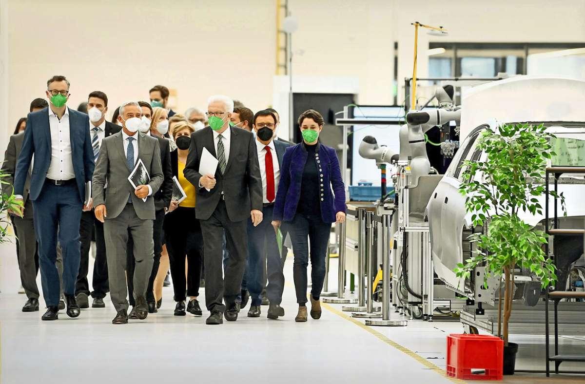 Die grün-schwarze Koalition hat am Mittwoch ihr Programm in der Arena 2036 in Stuttgart vorgestellt –  deren Klimapaket finden viele Klimaschützer im Grundsatz gut, äußern aber im Detail viele Kritikpunkte. Foto: dpa/Bernd Weissbrod