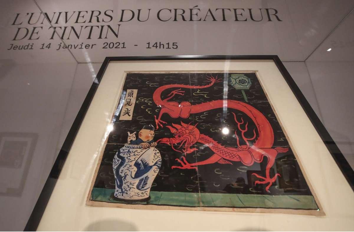 Das Objekt der Sammlerbegierde: Hergés Entwurf zu einem Comic-Cover. Foto: dpa/Michel Euler