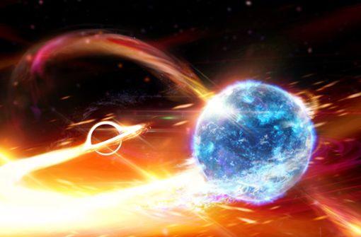 Schwarzes Loch verschlingt kompletten Neutronenstern