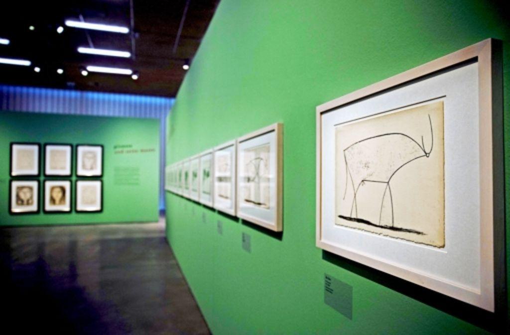 Diese Lithografie eines Stiers hat zehn Vorgänger – erst mit der elften, stark reduzierten Version, war Picasso zufrieden. In Waiblingen sind alle Varianten zu sehen. Foto: Stoppel