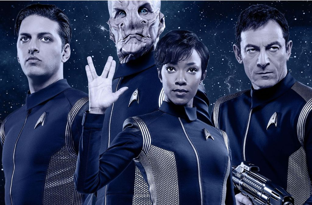 "Die neuen Star Trek""-Helden (v. li.): Shazad Latif als Ash Tyler, Doug Jones als Saru, Sonequa Martin-Green als Michael Burnham, Jason Isaacs als Captain Lorca Foto: CBS ALL ACCESS"