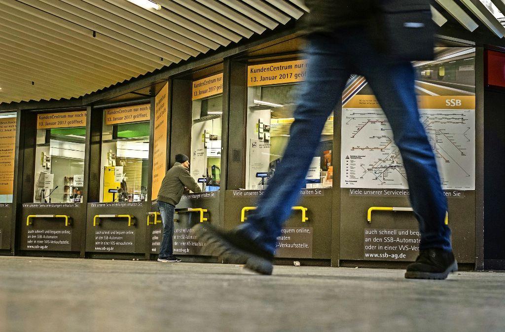 Die Tage des Kundenzentrums der Stuttgarter Straßenbahnen (SSB) in der Klett-Passage sind gezählt. Foto: Lichtgut/Max Kovalenko