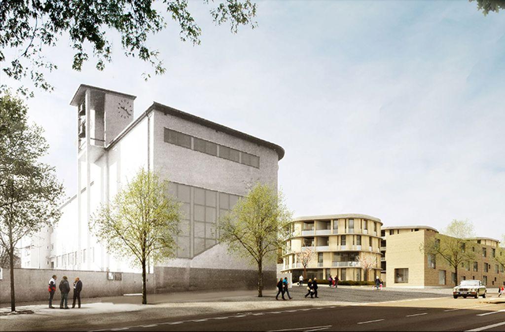 Neben der Brenzkirche (links) soll das neue Wohngebiet entstehen. Zu sehen ist hier das Resultat des Architektenwettbewerbs. Ihn gewann das Büro Kister, Scheithauer und Groß. Foto: ©ksg/Ponnie Images