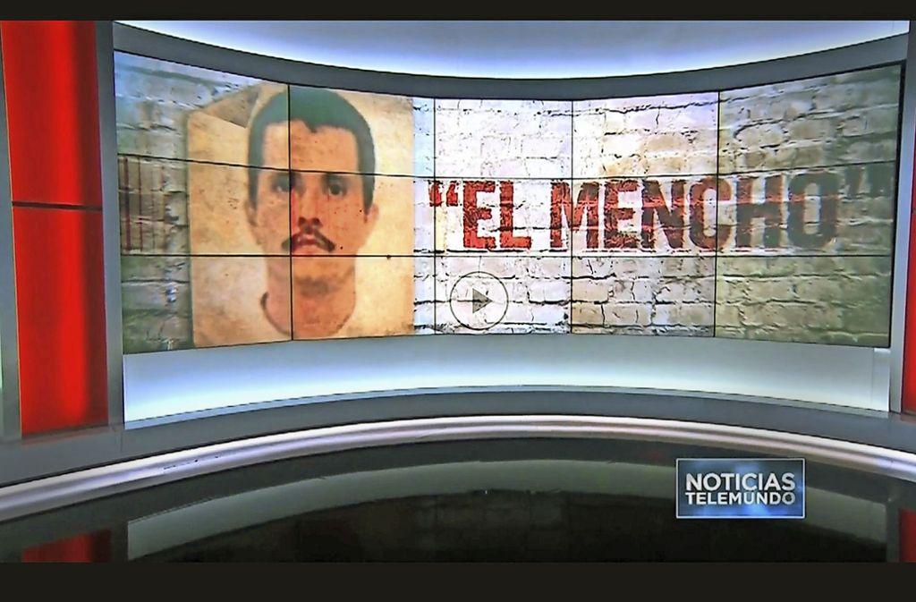 """Der Screenshot einer Fernsehsendung zeigt den gefährlichsten Mann Mexikos: """"El Mencho"""" ist der Kampfname des Drogenbosses Nemesio Oseguera Cervantes Foto: Noticias Telemundo"""