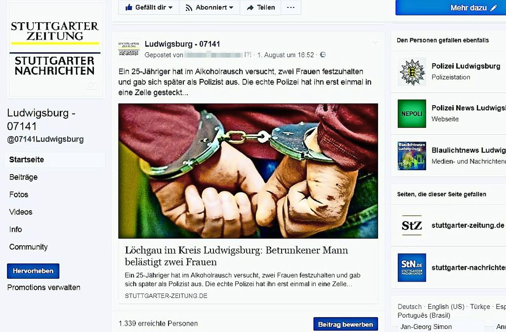 Auch auf Facebook informiert  die Ludwigsburger Redaktion über Neuigkeiten aus dem gesamten Landkreis. Foto: Screenshot