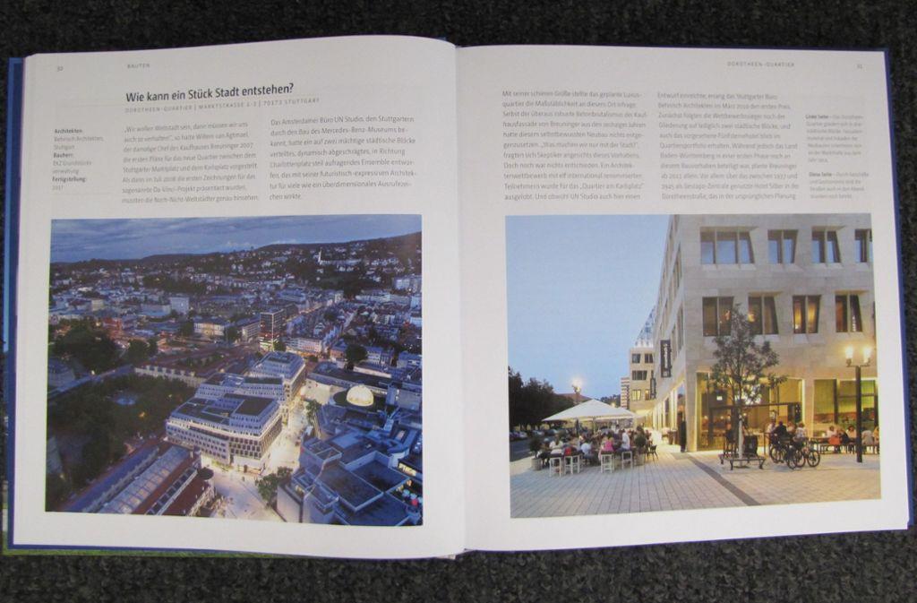 """Der üppig illustrierte Band """"Architekturstadt Stuttgart"""" stellt  exemplarische Bauten vor. Foto: StZ"""