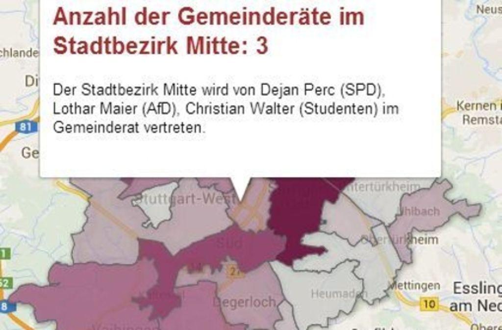 Unsere Karte zeigt, wie viele Stadträte die Stuttgarter Stadtbezirke im neuen Gemeinderat vertreten werden. Foto: Screenshot