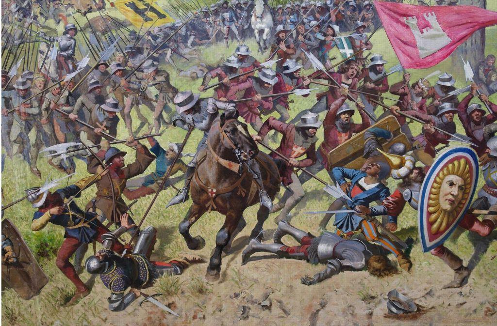 Ausschnitt aus dem Rundbild der Murtenschlacht Foto: Stiftung für das Panorama der Schlacht bei Murten