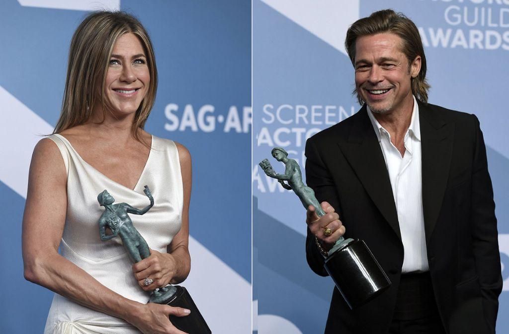 """Jennifer Aniston wurde für """"The Morning Show"""" ausgezeichnet, Brad Pitt für """"Once upon a Time in Hollywood"""" Foto: dpa/Jordan Strauss"""