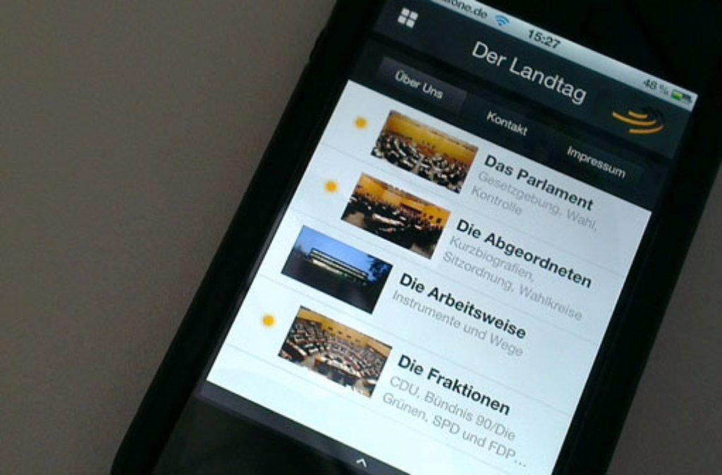 Mit einer App fürs iPhone informiert des baden-württembergische Landtag darüber, was die Abgeordneten so treiben. Foto: SIR