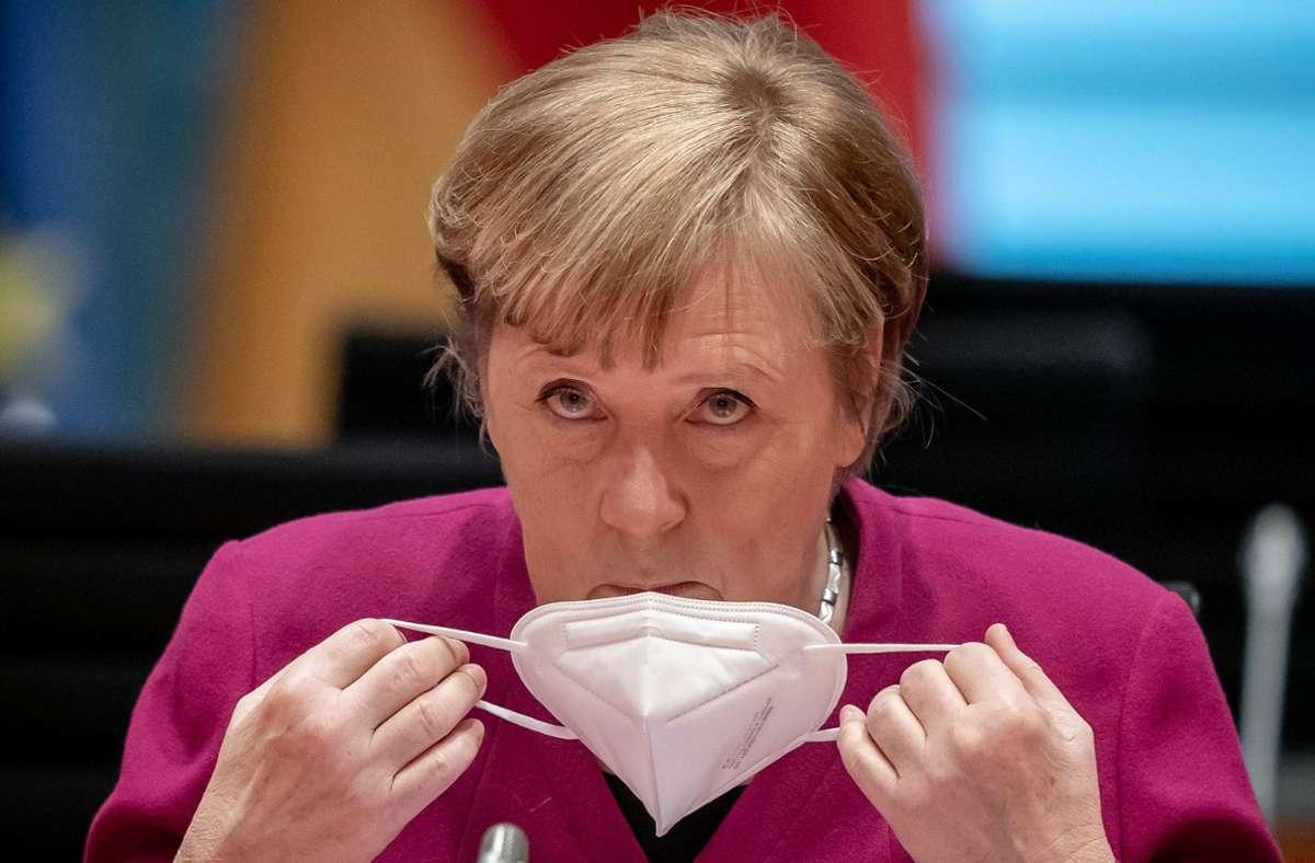 Angela Merkel und die Ministerpräsidenten ringen um die weiteren Schritte in der Coronapandemie. Foto: dpa/Michael Kappeler