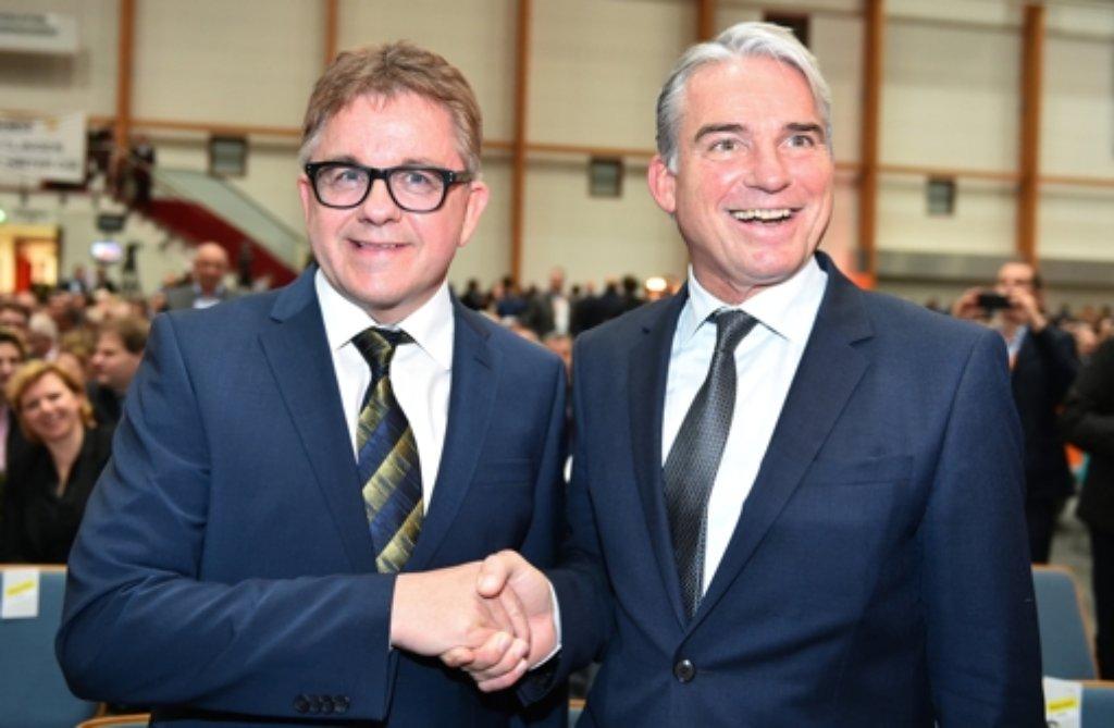 CDU-Landeschef Thomas Strobl (rechts) und Spitzenkandidat Guido Wolf Foto: dpa