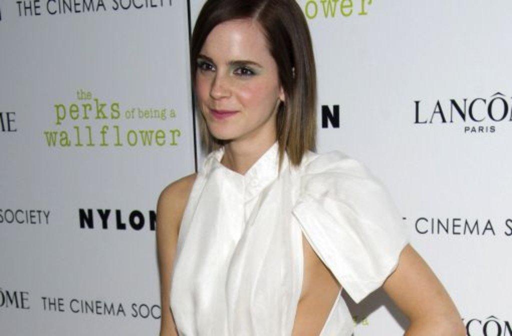 Zur Vorstellung ihres neuen Filmes The Perks Of Being A Wallflower in New York erschien Emma Watson ... Foto: AP