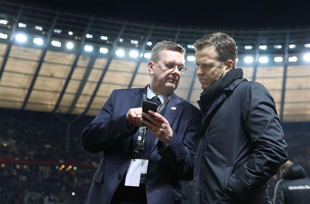 DFB-Präsident Reinhard Grindel (links) und Nationalmannschafts-Manager Oliver Bierhoff Foto: Gettyabo