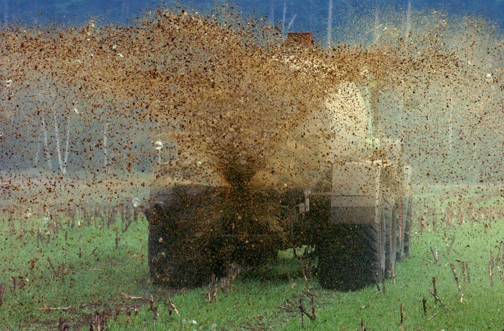 In Braunsbach ist ein Lastwagen umgekippt – rund 500 Liter Gülle liefen aus. Foto: dpa/Symbolbild