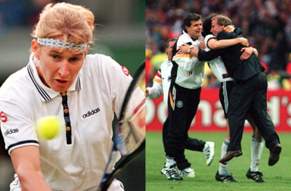 Steffi Graf gewinnt Wimmbledon und Deutschland wird Fußball-Europameister 1996. Foto: dpa