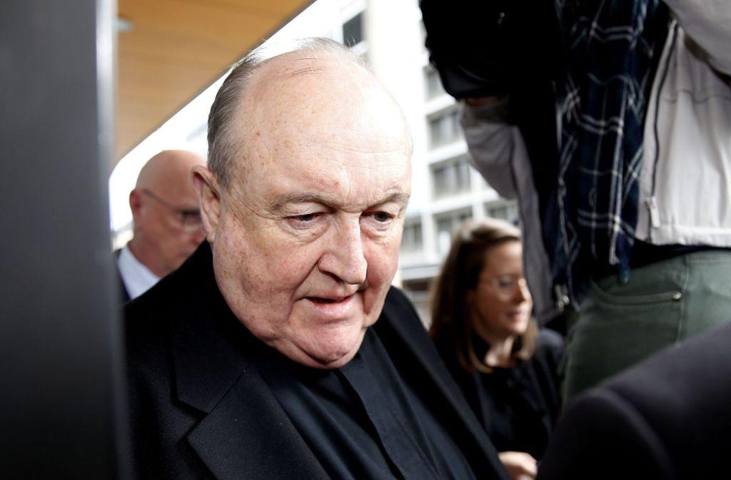 Freispruch in der zweiten Instanz: Der frühere Erzbischof Philip Wilson ist im Juli 2018 wegen Vertuschung von Kindesmissbrauch in der katholischen Kirche zu zwölf Monaten Hausarrest verurteilt worden. Foto: