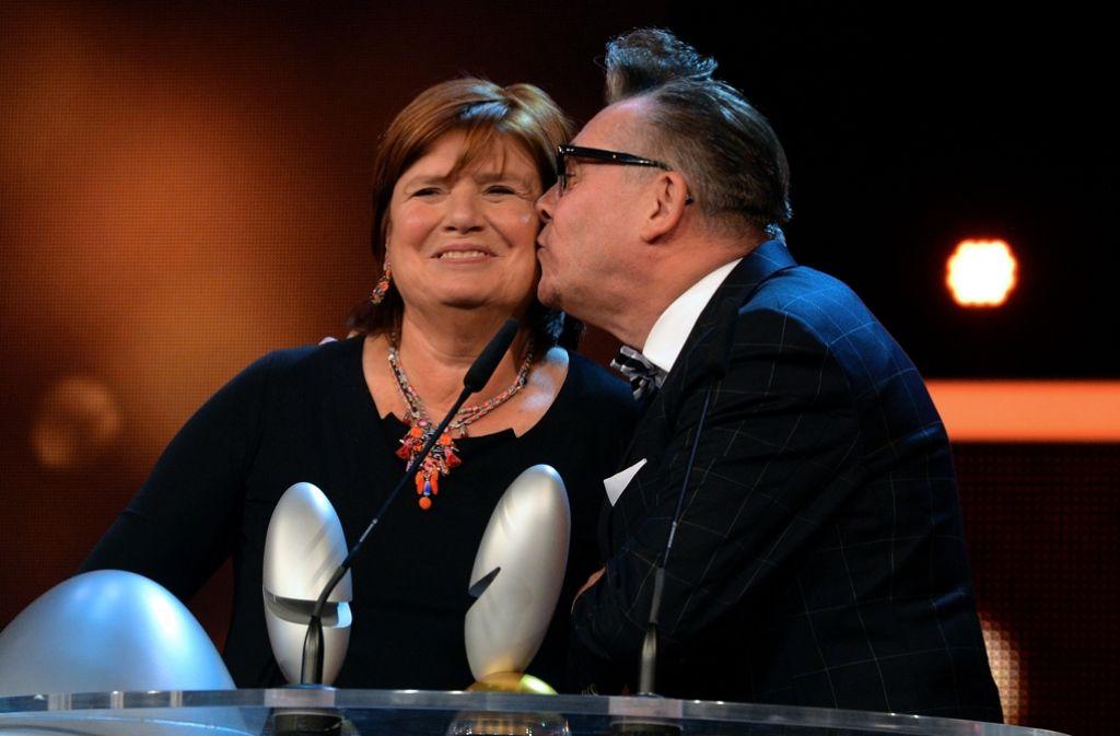 Christine Westermann und Götz Alsmann bei der Preisverleihung in Köln. Foto: Getty