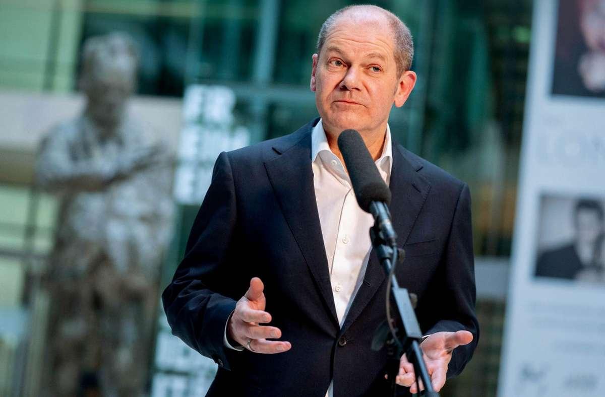 Kanzlerkandidat Olaf Scholz zeigt sich selbstbewusst. Foto: dpa/Kay Nietfeld