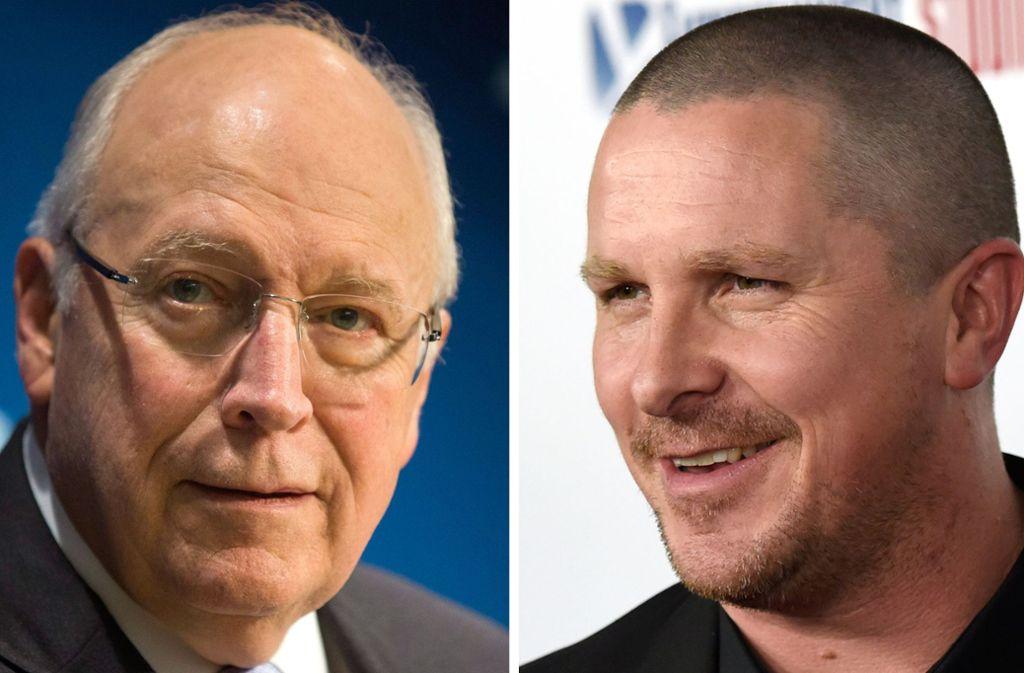 """Wie verwandelt sich Christian Bale (rechts) in den ehemaligen US-Vizepräsidenten Dick Cheney (links)? Ein Trailer zum Spielfilm """"Vice"""" gibt einen Vorgeschmack. Foto: dpa"""