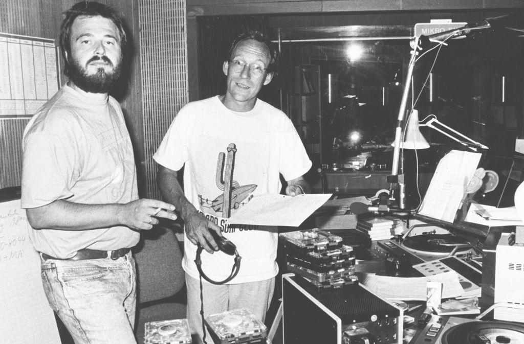 So wurde er zur Radiolegende: Thomas Schmidt (links) 1989 mit Stefan Siller bei der Hörerhitparade Top Tausend X. Foto: Uli Kraufmann