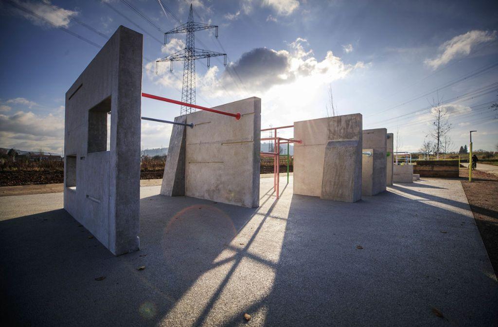 Die Anlagen für Parcours-Sportler im Bürgerpark sind immerhin schon da. Foto: Gottfried Stoppel