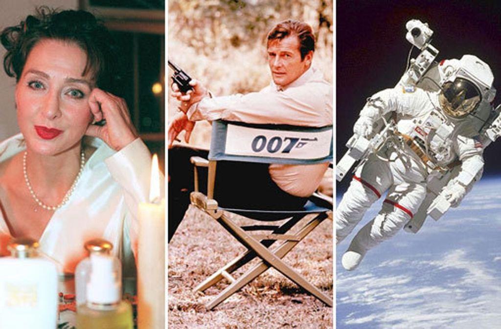 """Christine Kaufmann, bereits als Neunjährige in """"Rosen-Resli"""" zum Star geworden, Bond-Darsteller Roger Moore und Bruce McCandless, der erste Mann im All (von links). Foto: dpa/AP/Bildmontage STZN"""