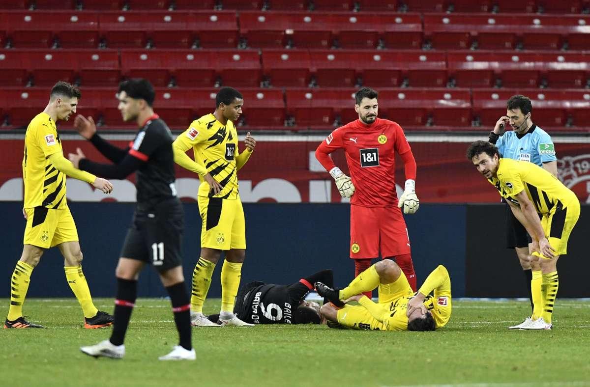 Borussia Dortmund hat das Verfolgerduell gegen Leverkusen verloren. Foto: dpa/Martin Meissner