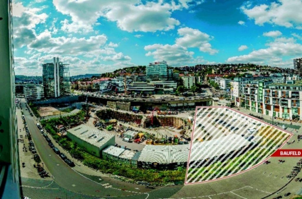 Zusätzlich zum Cloud No 7 (im Bild rechts) und dem Hochhaus der Landesbank (im Bild links) kann auf Baufeld fünf ein weiteres Hochhaus entstehen. Foto: Lg/Kovalenko, Bearbeitung: Zapletal