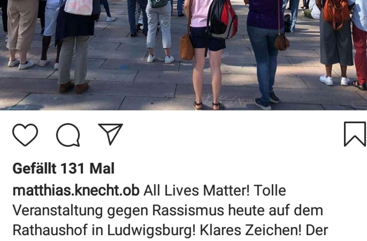 Posting von Matthias Knecht auf Instagram. Foto: Screenshot/Instagram