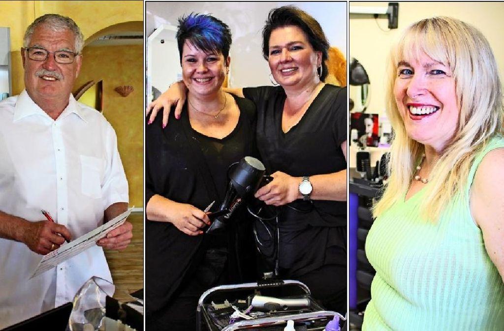 Klaus Manßhardt, Martina Witt, Christina Geiger und Heidi Lang (von links) betreiben Friseursalons in Heumaden. Foto: Holowiecki, Montage: Stahlberg