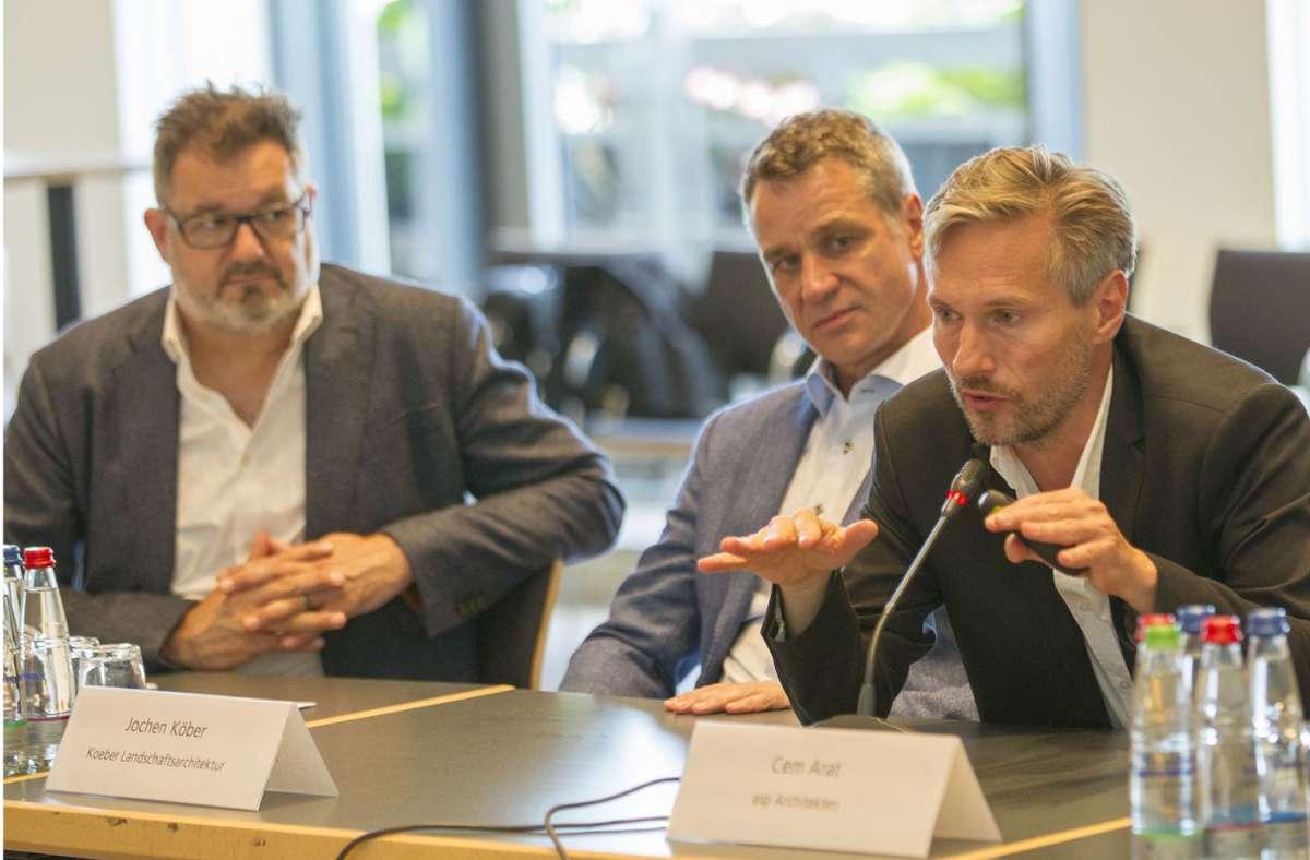 Die Sieger des städtebaulichen Wettbewerbs  um  Cem Arat (rechts) haben klare Vorstellungen für den Verkehr im Rosensteinviertel. Foto: Lichtgut//Leif Piechowski