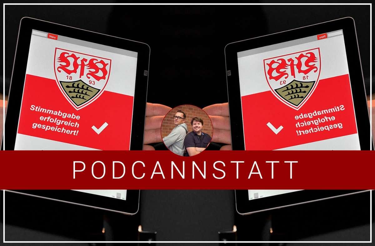 """Der """"PodCannstatt"""" blickt auf die Mitgliederversammlung des VfB Stuttgart. Foto: StZN/Baumann"""