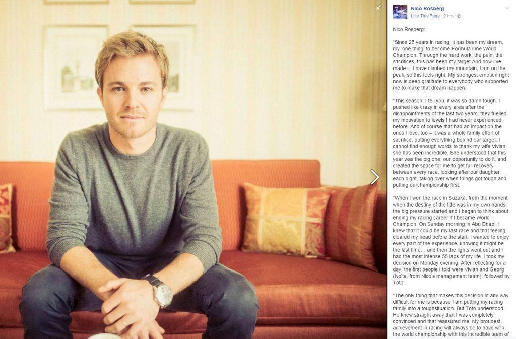 Nico Rosberg verkündet das Ende seiner Karriere mit einem sehr persönlichen Posting auf Facebook. Foto: Facebook/@nicorosberg