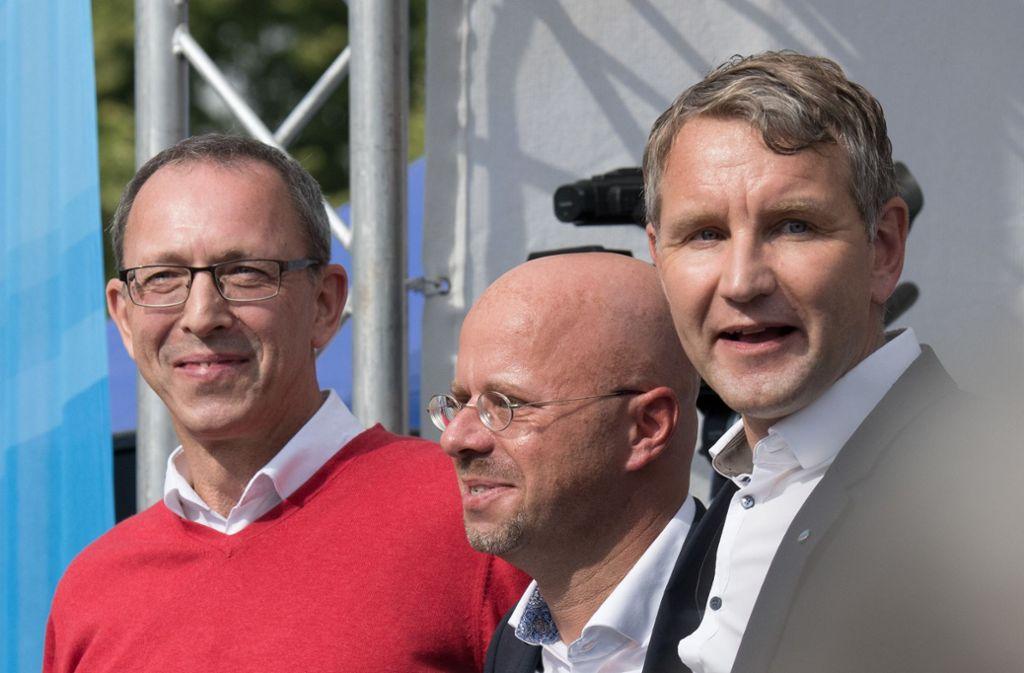 Spitzenkandidaten der AfD im Osten: Urban, Kalbitz und Höcke (v.l.) Foto: dpa