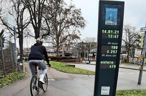 Im Durchschnitt   1500 Radfahrer pro Tag