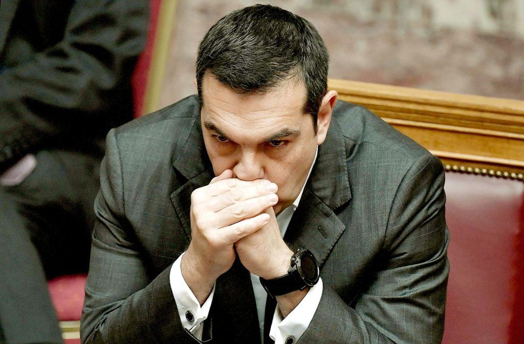 Premier Tsipras kann sich der EU-Unterstützung noch nicht sicher sein.Alexis Tsipras hinkt mit angekündigten Reformen hinterher. Foto: AFP