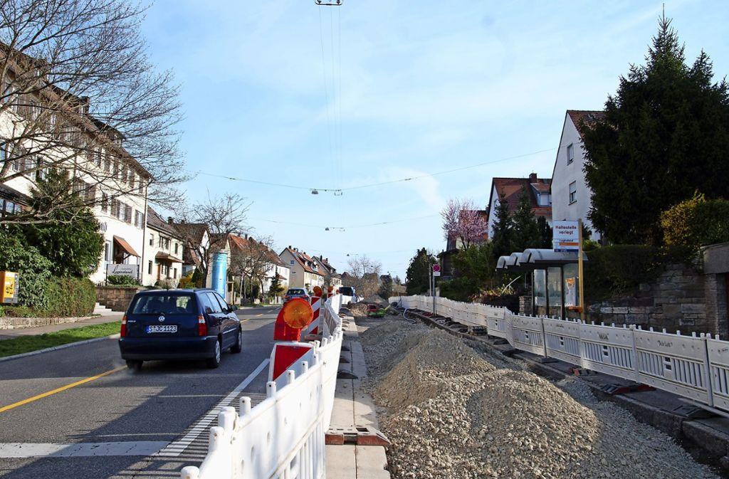 Entlang der  Fellbacher Straße gibt es  eine riesige Baustelle. Foto: Mathias Kuhn