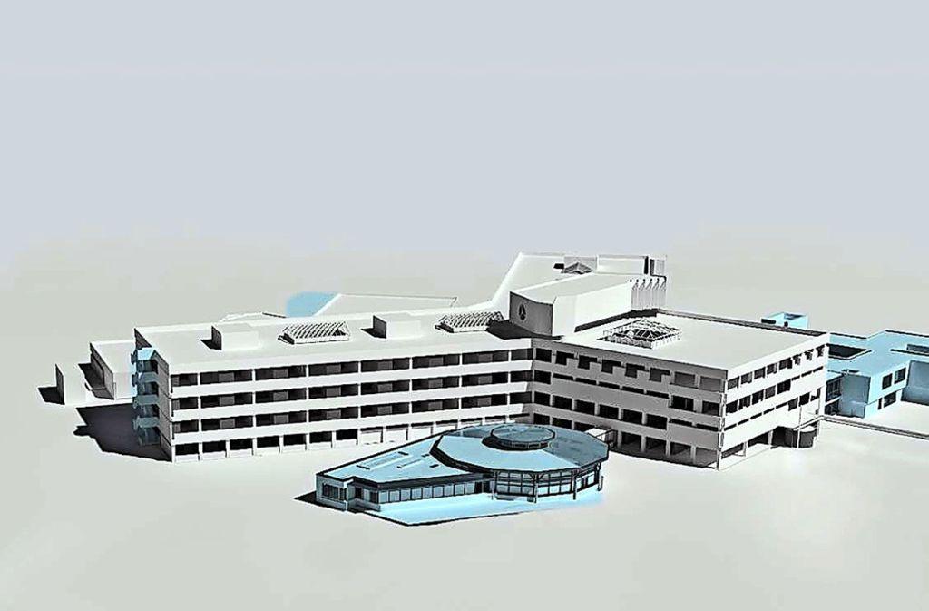 """So soll das Krankenhaus in fünf Jahren aussehen. Links vorne ist die Cafeteria """"Pavillon"""", rechts neben dem Haupthaus die ausgelagerte Psychosomatik (blau). Foto: Landratsamt"""
