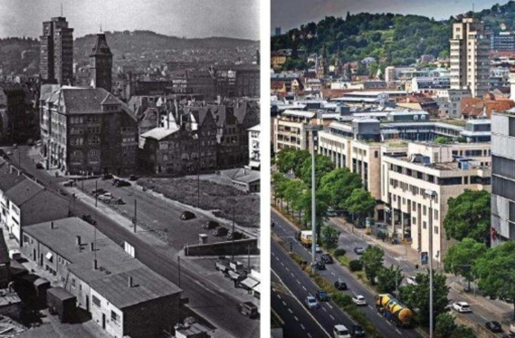 Links sieht man die Eberhardstraße in den 1950er Jahren; die kleinen Häuser in der rechten Bildhälfte stehen noch heute an der Nadlerstraße. Leider gelingt der Blick in die Eberhardstraße hinein heute selbst vom Hochhaus am Charlottenplatz nicht mehr (rechts). Weitere umstrittene Umbauarbeiten in Stuttgart sehen Sie in unserer Fotostrecke. Foto: Lazi/Zweygarth