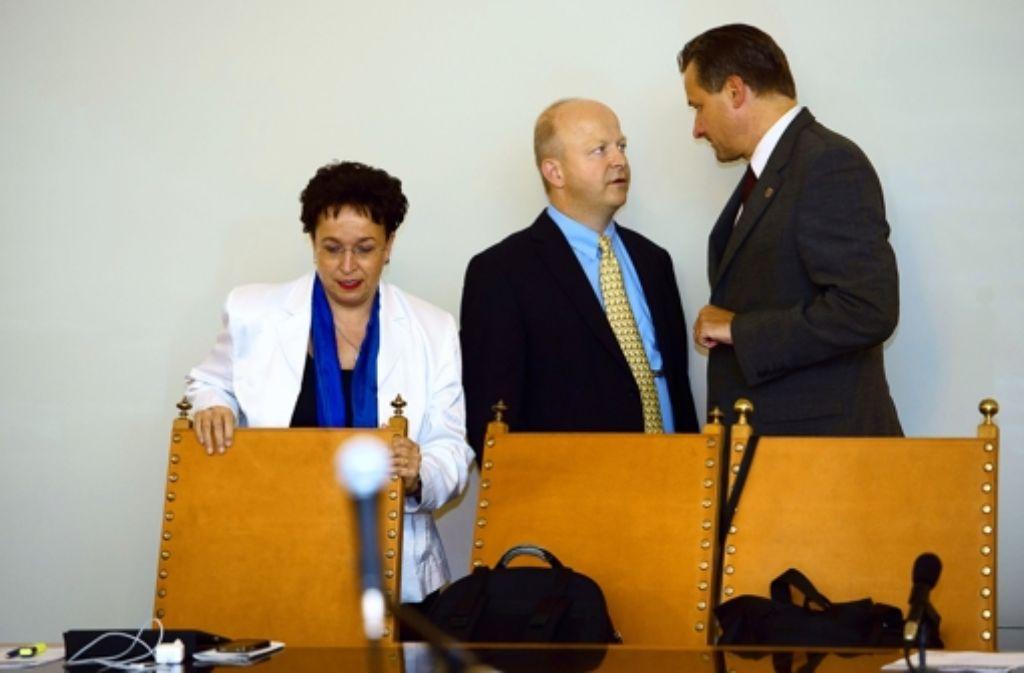 Stühlerücken bei der FDP: Birgit Homburger tritt ab, Michael Theurer und Hans-Ulrich Rülke (von links) Foto: dpa
