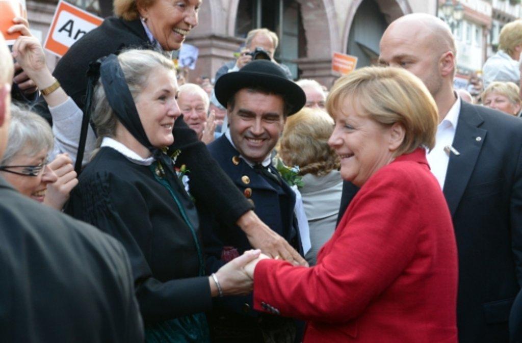 Am Mittwochabend machte Angela Merkel für einen Wahlkampf-Auftritt Stopp in Calw. Foto: dpa