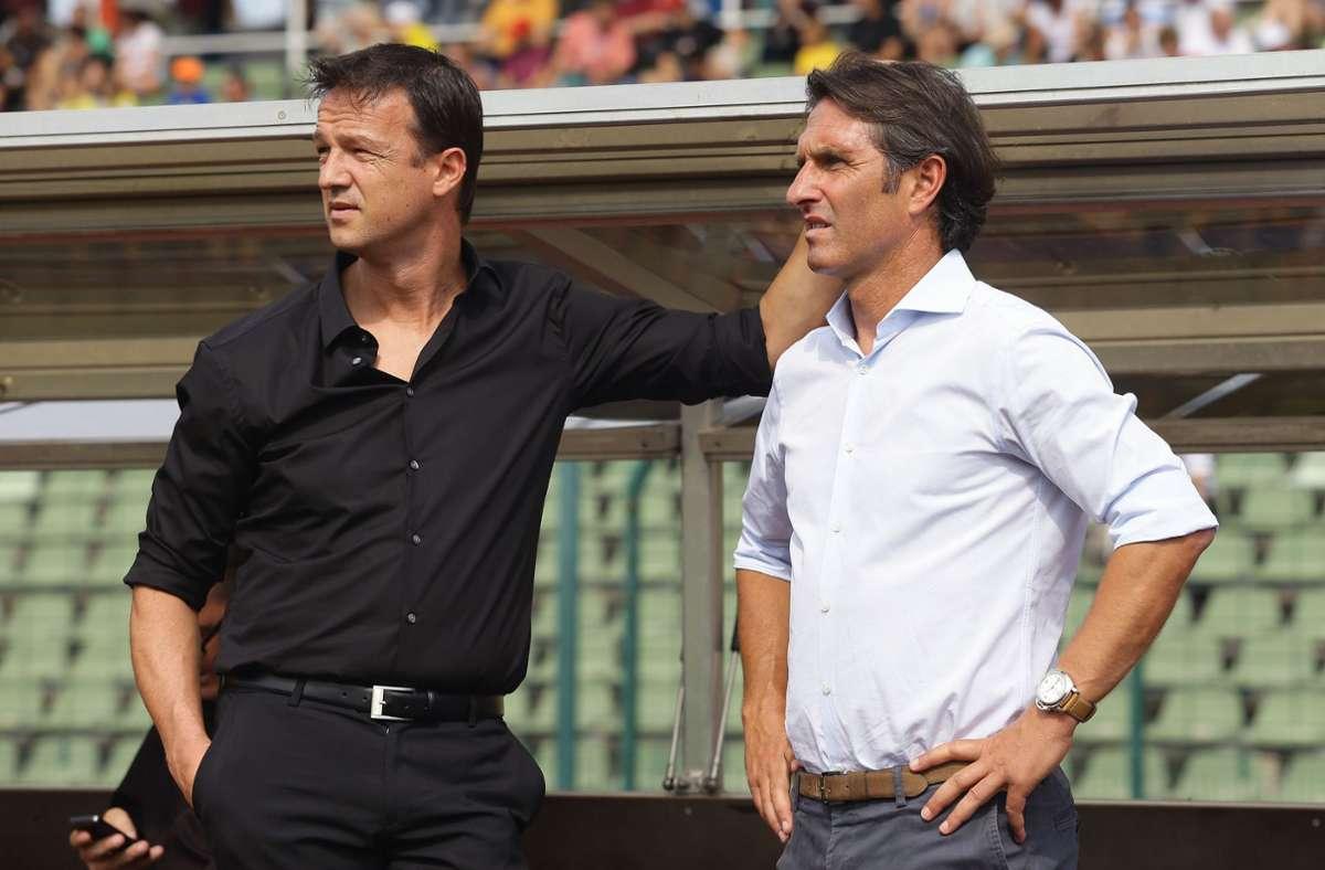 Zwei Gratulanten zum VfB-Aufstieg, die einst selbst in Cannstatt aktiv waren: Fredi Bobic und Bruno Labbadia (rechts) Foto: Pressefoto Baumann