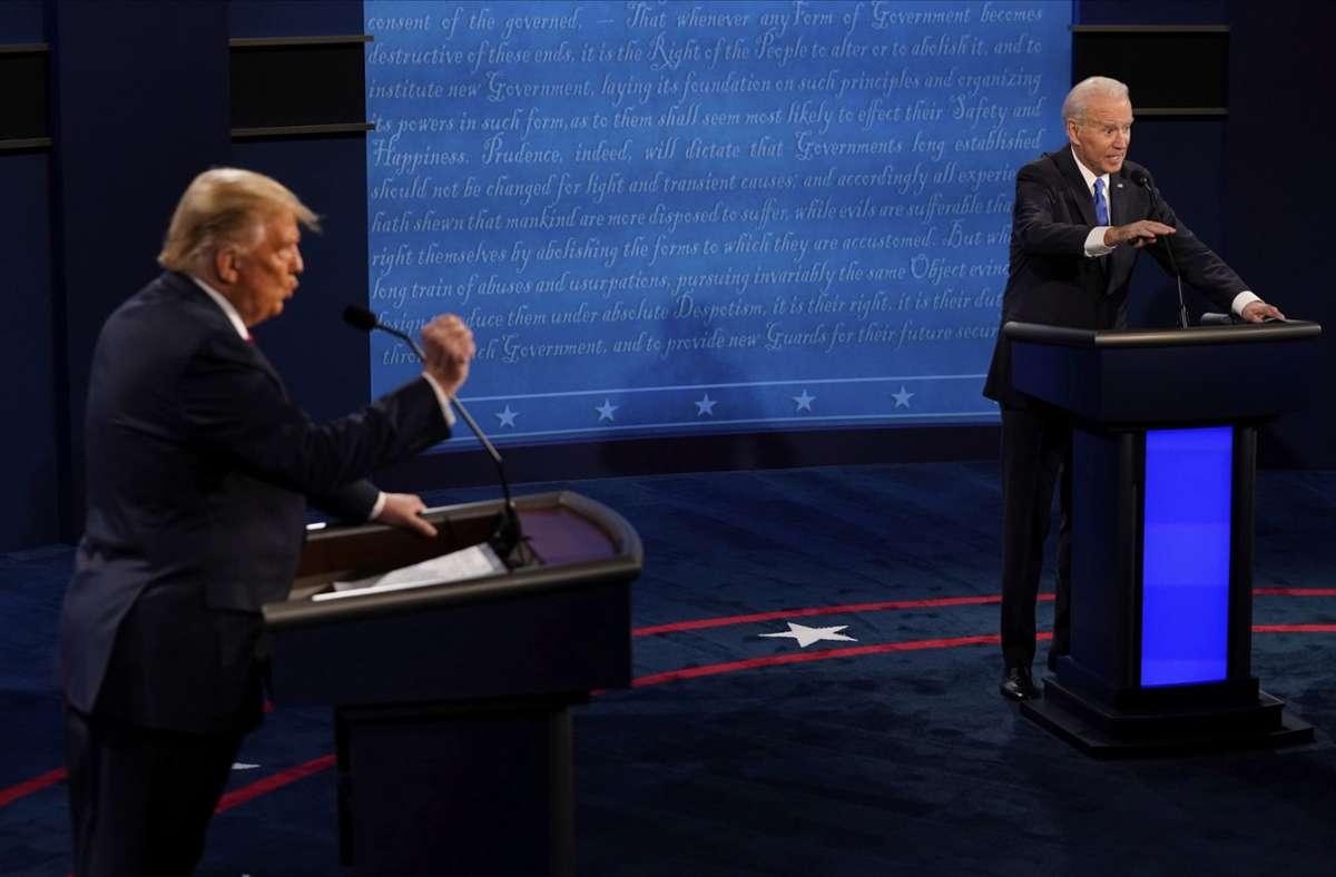 Das TV-Duell zwischen Donald Trump und Joe Biden verlief gänzlich anders als der erste Schlagabtausch. Foto: AP/Morry Gash