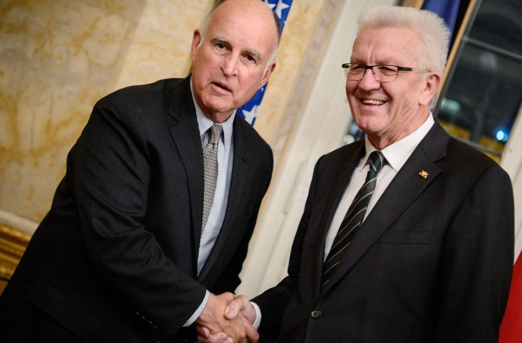 Machen gemeinsame Sache im Klimaschutz: Winfried Kretschmann und Kaliforniens Gouverneur Jerry Brown. Foto: dpa