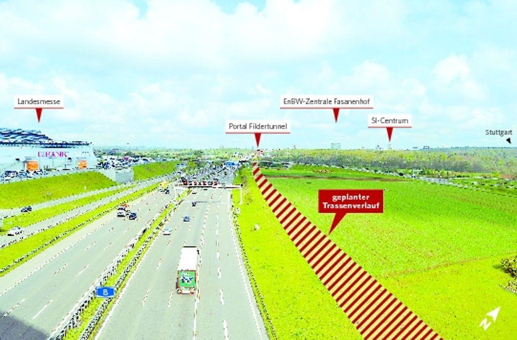 Wo sich heute noch Felder entlang der A8 hinziehen, sollen einmal Gleise liegen. Foto: StZMontage: Yann Lange