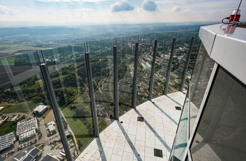 Der Blick von der Aussichtsplattform in 232 Metern Höhe ist einzigartig. Foto: thyssenkrupp Steel Europe