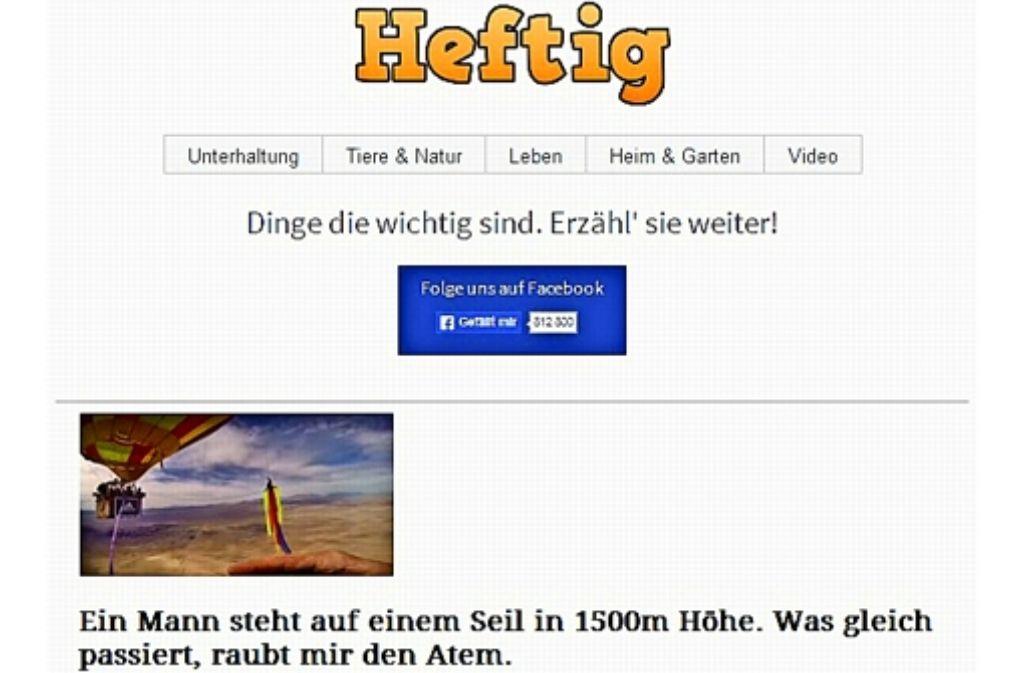 So präsentiert sich die Heftig-Homepage  im Internet. Die meisten Leser werden aber über Empfehlungen ihrer Facebook-Freund angelockt. Foto: StZ