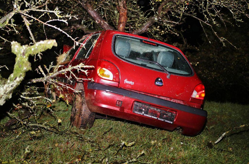Wer fuhr dieses Auto gegen den Baum? Foto: 7aktuell.de//Kevin Lermer