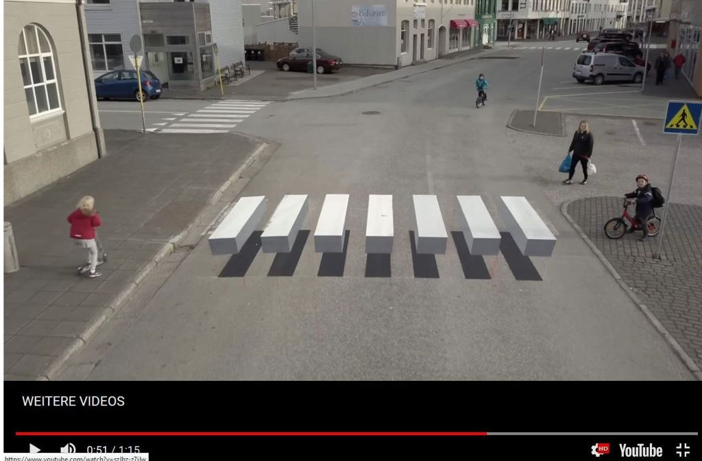 So sehen die 3D-Zebrastreifen in echt aus. Foto: Screenshot/youtube.com/watch?v=szJbz-z7iJw&t=6sdpa